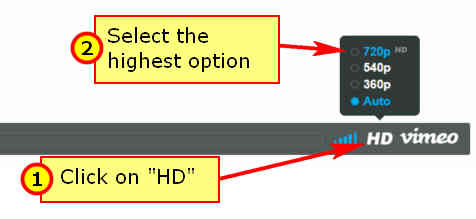 Screen capture showing how to select HD when watching a video using the Vimeo player