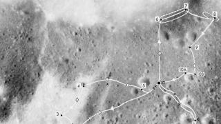 NASA photo of the Apollo 17 mission traverse map