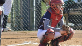 Anna Winter, B.S. chemical engineering 2021, behind home plate during a softball game