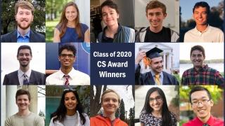 Photo collage of CS Department Award Winners graduating