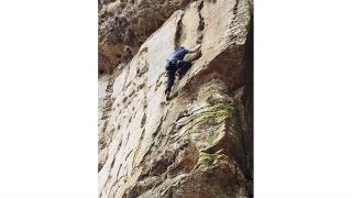 Benjamin Johnson climbing at Red River Gorge