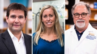 Collage photo of three professors who won a grant from BioFabUSA, a non-profit research organization dedicated to rapidly advancing biomanufacturing technologies