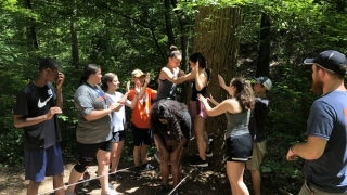 UVA students doing ropes course