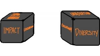 Drawing of proposed cube signifying UVA Engineering values