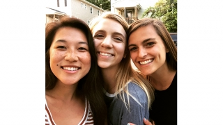 CHE Ph.D. student Jenna Sumey (center) with friends