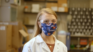 Chemical engineering Ph.D. student Jenna Sumey portrait in lab