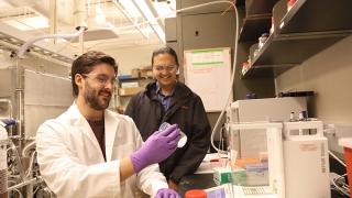 Fourth-year grad student Luke Huelsenbeck (left) has worked on the Hava project with assistant professor of chemical engineering Gino Giri for about two years.