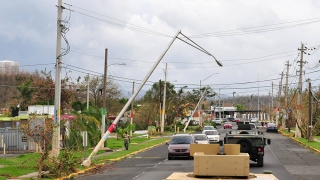 Street scene showing damage from Hurricane Maria in Puerto Rico