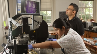 Nikhil Shukla with student in his lab