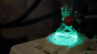 Quantum dots being synthesized in a flask