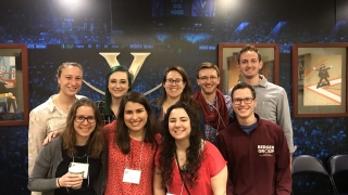 Mara, Vince, and Rachel take a picture with 6 other chemical engineering volunteer judges.