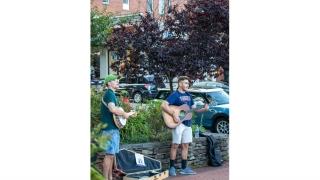 Sean Bannon busking in Charlottesville