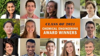 Composite image of 2021 graduates receiving chemical engineering departmental awards in 2021