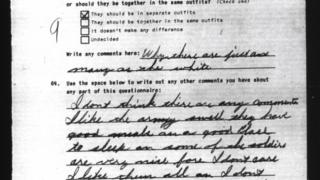 Handwritten soldier survey - WWII
