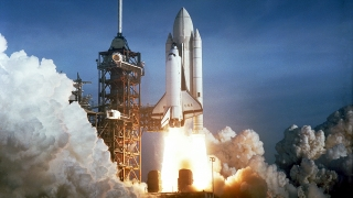 Space Shuttle Columbia takes off on the first successful launch of the space shuttle.