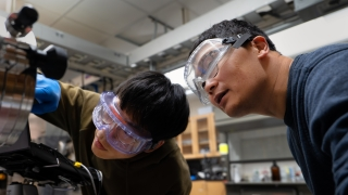 UVA Engineering professor Kyusang Lee works with a student on the development of a hemispherical image sensor